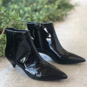 Calvin Klein Larissa Black Patent Leather Bootie